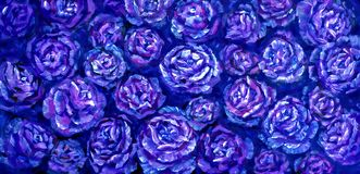 Flowers rose peony texture oil painting. Abstract hand-painted flowers background. Blue flowers rose peony close-up oil painting. Abstract hand painted flower stock photos