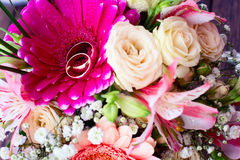 Flowers rose on wooden surface. Royalty Free Stock Photos