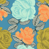 Flowers. Roses. Seamless  background. Vintage illustration. Flowers. Roses. Seamless  background Stock Photo