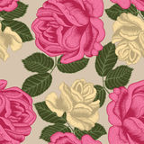 Flowers. Roses. Seamless  background. Vintage illustration. Vector seamless pattern with large roses. Bright illustration for application to cloth and paper Royalty Free Stock Image