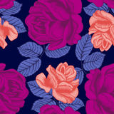 Flowers. Roses. Seamless  background. Vintage illustration. Vector seamless pattern with large roses. Bright illustration for application to cloth and paper Royalty Free Stock Photography