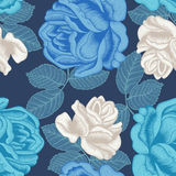 Flowers. Roses. Seamless  background. Vintage illustration. Vector seamless pattern with large roses. Bright illustration for application to cloth and paper Stock Photos