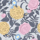 Flowers. Roses. Seamless vector background. Vintage illustration Royalty Free Stock Photography
