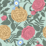 Flowers. Roses. Seamless vector background. Vintage illustration Royalty Free Stock Photos