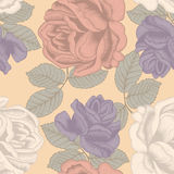 Flowers. Roses. Seamless vector background. Vintage illustration. Vector seamless pattern with large roses. Bright illustration for application to cloth and Stock Photos