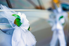 Flowers roses wedding car decoration Stock Photo