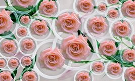 Flowers roses on white background in circles. Photo wallpaper for interior. 3D rendering. Flowers roses on white background in circles. Photo wallpaper for Royalty Free Stock Image