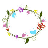 Flowers round doodle with heart  Royalty Free Stock Photos