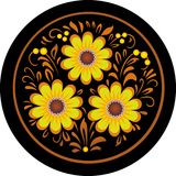 Flowers in a round frame. Royalty Free Stock Images
