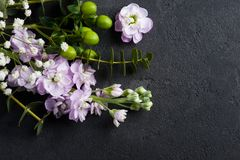 Flowers on rustic concrete background stock image