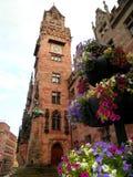 Flowers in Saarbrucken. Beautiful flowers with tower in Saarbrucken, Germany Royalty Free Stock Photography