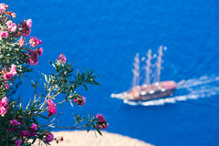 Flowers and sailing boat Royalty Free Stock Image