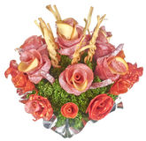 Flowers from salami , sausages and cheeses Stock Photo