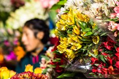 Flowers for sale at Peruwian market in South America. Royalty Free Stock Photos