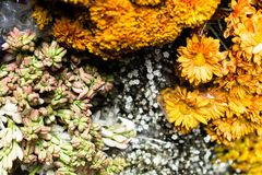 Flowers for sale at Peruwian market in South America. Royalty Free Stock Photography
