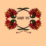 Flowers with sample text. Flowers on beige background with sample text. Vector illustration Royalty Free Stock Photo
