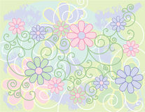 Flowers and Scrolls Background Stock Image