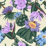 Flowers. Seamless  background.  Exotica.  Tropics. Flowers. Seamless  background. Vintage illustration. Tropics. Vegetable pattern. Botanical theme Stock Photo