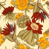 Flowers. Seamless  background.  Exotica.  Tropics. Flowers. Seamless  background. Vintage illustration. Tropics. Vegetable pattern. Botanical theme Royalty Free Stock Photos