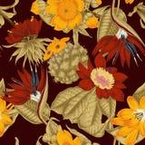 Flowers. Seamless  background.  Exotica.  Tropics. Flowers. Seamless  background. Vintage illustration. Tropics. Vegetable pattern. Botanical theme Stock Photos