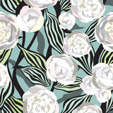 Flowers seamless background. Floral seamless texture with flowers. Vector Graphic. Stock Photo