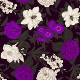 Flowers. Seamless  background. Vintage illustration. Vintage postcard. Vegetable pattern. Botanical theme Stock Photography