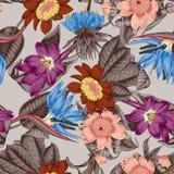 Flowers. Seamless  background.  Exotica.  Tropics. Flowers. Seamless  background. Vintage illustration. Tropics. Vegetable pattern. Botanical theme Royalty Free Stock Photo