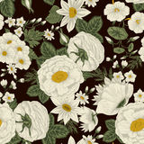 Flowers. Seamless  background. Vintage illustration. Vector seamless background with flowers. Vintage illustration. Figure can be used for application to the Royalty Free Stock Image