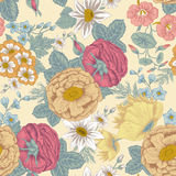 Flowers. Seamless  background. Vintage illustration. Vector seamless background with flowers. Vintage illustration. Figure can be used for application to the Royalty Free Stock Images