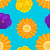 Flowers seamless blue pattern Stock Images
