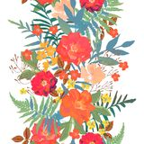 Flowers seamless border hand drawn for print design. Vector mode stock illustration