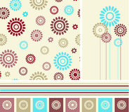 Flowers seamless and elements set. Royalty Free Stock Photo