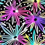 Flowers seamless hand craft expressive ink pattern. Royalty Free Stock Photography