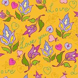 Flowers seamless love. Pattern of flowers, hearts and words of love Stock Images