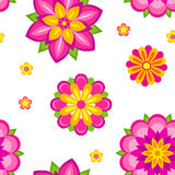Flowers seamless pattern. Seamless pattern of colorful decorative flowers. Vector EPS8 Royalty Free Stock Photos