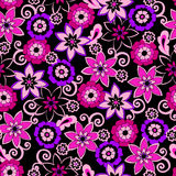 Flowers Seamless Pattern. Pink Flowers Seamless Vector Repeat Pattern Illustration Royalty Free Stock Image