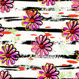Flowers seamless pattern background. Floral seamless pattern background, with strokes and splashes Royalty Free Stock Images