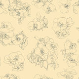 Flowers seamless pattern background line illustration orchids. Floral design elements. Stock Photo