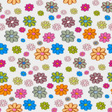 Flowers Seamless Pattern, Background. Retro Vector Flowers Seamless Pattern, Background Stock Photo
