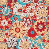 Flowers. Seamless pattern in doodle and cartoon style. Color. Vector. EPS 8 Royalty Free Stock Images