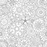 Flowers. Seamless pattern in doodle and cartoon style. Color. Vector. EPS 8 Royalty Free Stock Photos