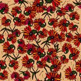 Flowers seamless pattern. Elegant seamless pattern with red flowers. Vector illustration Stock Photography