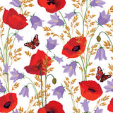 Flowers seamless pattern. Floral summer bouquet tile background. Meadow nature decor with bluebell, poppy and butterfly Stock Photo
