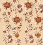 Flowers. Seamless pattern with  hand-drawn brown  flowers Royalty Free Stock Image