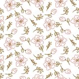 Flowers seamless pattern. Hand drawn style tender pink and white texture. vector illustration