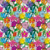 Flowers. Seamless pattern made of different clolorful illustrated flowers Royalty Free Stock Photography