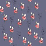 Flowers seamless pattern for paper, textile printing and web projects. Navy blue background stock illustration