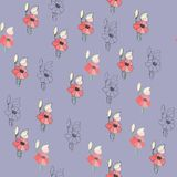 Flowers seamless pattern for paper, textile printing and web projects. Blue background royalty free illustration