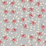 Flowers seamless pattern for paper, textile printing and web projects. Gray background royalty free illustration