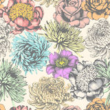 Flowers. Seamless Pattern. Pencil Drawing. Stock Photos
